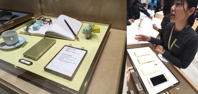 백화점의 주얼리 코너를 연상하게 하는 일본 소니의 부스. - 바르셀로나=김규태 기자 kyoutae@donga.com 제공